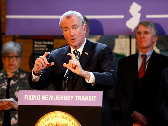 New Jersey Governor Phil Murphy speaks at the Madison train station about proposals to fix NJ Transit. The governor has referred to NJ Transit a 'national disgrace' and vowed to make over the troubled agency. He signed an executive order in January that called for an audit of the organization. March 20, 2018. Madison, NJ.