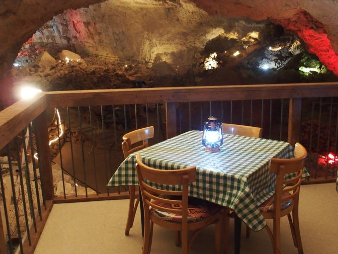 The Caverns Grotto dining platform offers a scenic