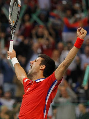 Novak Djokovic defeated Tomas Berdych to tie the Davis Cup finals at 2-2.