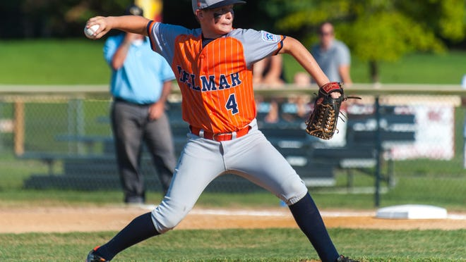 Delmar starting pitcher Jock Luthy (4) throws to a Bethesda batter during the 11-12 Little League Maryland Finals in Easton on Friday evening.