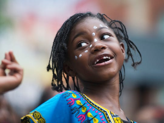 Tyae Gibson, 6, performs with the Kuumba Watoto Dance