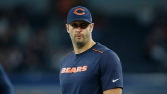 Chicago Bears quarterback Jay Cutler on the field before the game against the Dallas Cowboys at AT&T Stadium.
