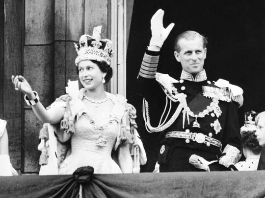 Queen Elizabeth II and Prince Philip on the balcony of Buckingham Palace after her coronation in June 1953.