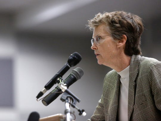 Attorney Beth Gammie testifies at a FDC public hearing held Tuesday at the Betty Easley Center to discuss proposed rule changes that could reduce visitation hours for Florida's inmates.