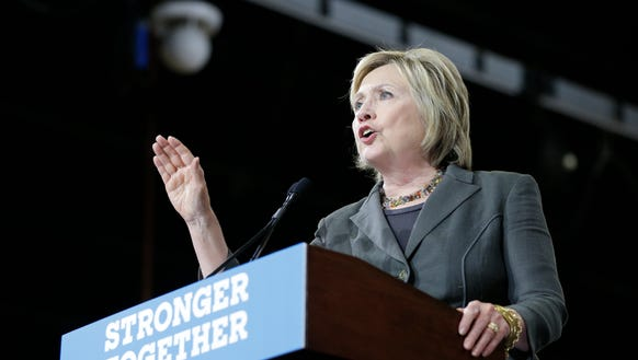 Hillary Clinton speaks at a rally in Raleigh, N.C.,