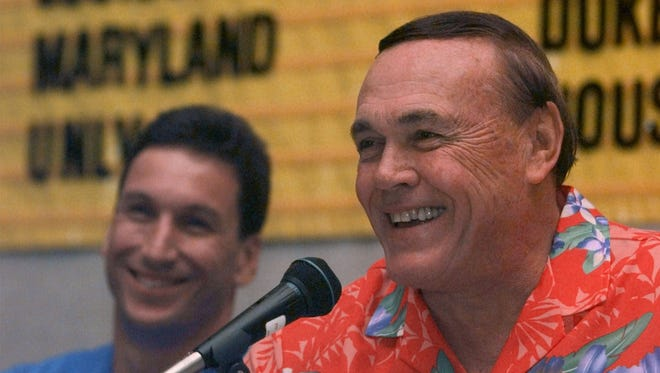 Purdue coach Gene Keady, right, and Chaminade coach Al Walker share a joke during a press conference to kick off the Maui Invitational in Lahaina, Nov. 21, 1999.