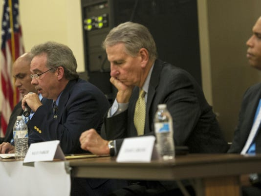 Lebanon City Council candidates, from left, Cornell Wilson, Richard Wertz, Wiley Parker and Cesar F. Liriano speak at a candidate forum held at HACC's Lebanon Campus and sponsored by the Lebanon Valley Chamber of Commerce and the Lebanon Daily News on Tuesday.