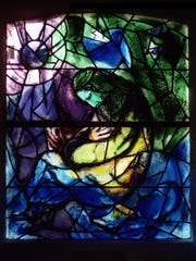 """""""Jeremiah"""", which portrays the tormented teenage prophet, is one of the windows by Marc Chagall at the Union Church of Pocantico Hills."""