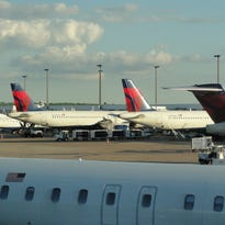 Delta Air Lines aircraft are seen at Memphis International Airport on April 5, 2012.