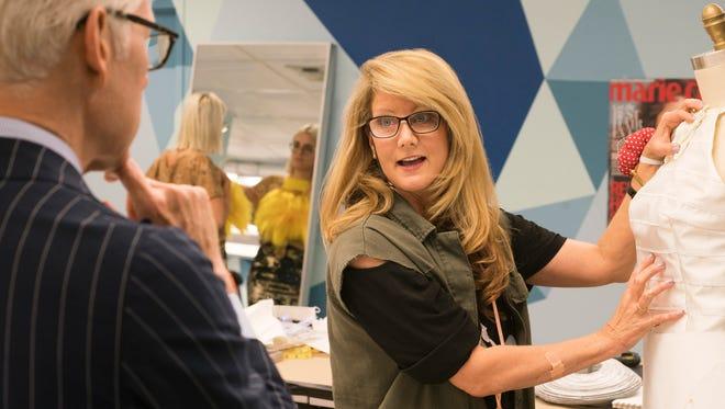 "Milwaukee designer Linda Marcus works on a design in ""Project Runway,"" Season 15, Episode 1."