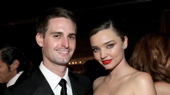 Snapchat co-founder Evan Spiegel with his wife, model Miranda Kerr.