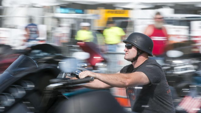 Bikers cruise into the Ocean City Inlet parking lot for OC BikeFest 2014.