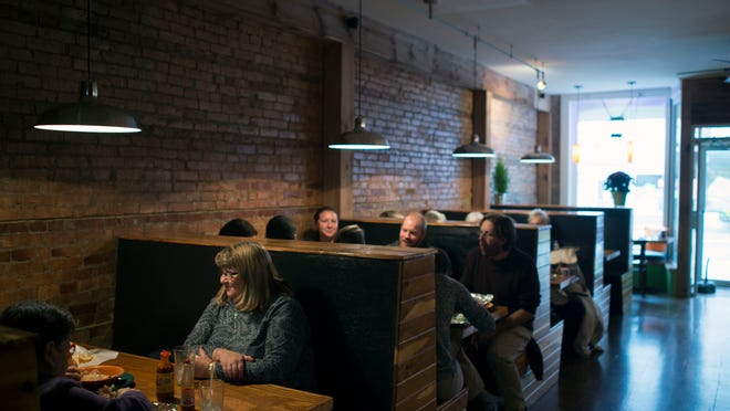 Guests enjoy lunch at Modern Mixture Too Thursday, Nov. 13, in Milton.