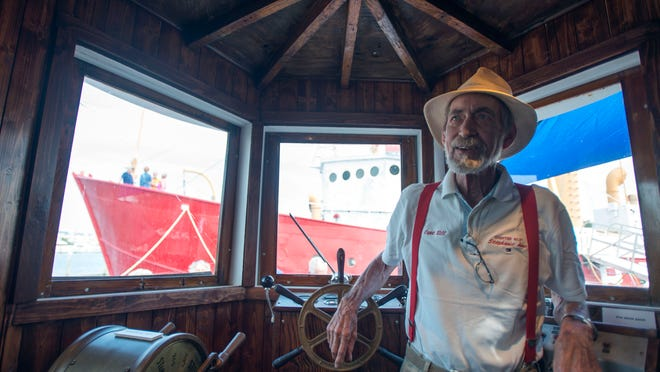 Capt. Bill Cheney in the pilot house of the Stephanie Anne, now a museum at the Overfalls Foundation in Lewes.