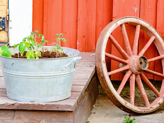 Galvanized tubs are a great way to display your herbs