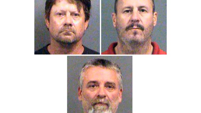 This combination of Oct. 14, 2016, file booking photos provided by the Sedgwick County Sheriff's Office in Wichita, Kan., shows from top-left, Patrick Stein, Curtis Allen and Gavin Wright, three members of a Kansas militia group who were charged with plotting to bomb an apartment building filled with Somali immigrants in Garden City, Kan.