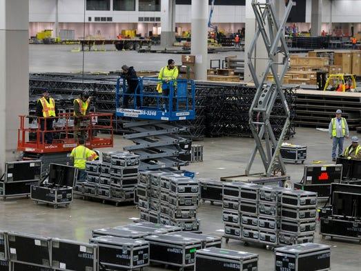 Construction crews work to prepare Cobo Center for