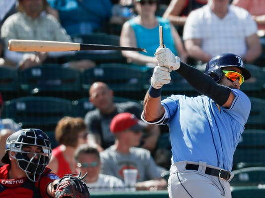 Tampa Bay Rays' Kevin Kiermaier breaks his bat in the fifth inning of a spring training baseball game against the Minnesota Twins, Sunday, Feb. 25, 2018, in Fort Myers, Fla. (AP Photo/John Minchillo)