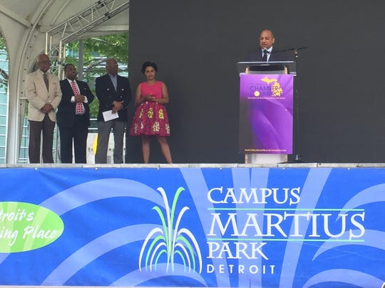 Ken Harris announces that the Michigan Chamber of Commerce is now the National Business League at Campus Martius in Detroit on June 19, 2017.