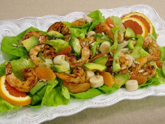 Food Spicy Grilled Shrimp and Citrus Salad