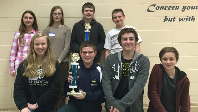 Roncalli High School recently hosted the 46th annual Grade School Math Bowl. Pictured is the winning team of, first row, Sheboygan Leadership Academy members Rebekah Williams, Evan Spaulding, Owen Thompson and Andrew Diener. Row two is St. Francis of Assisi Manitowoc members Courtney Isselmann, Anika Czekala, Luke Koschnick and Max Winga.