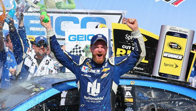 Dale Earnhardt Jr. won for the sixth time at Talladega Superspeedway, but the first since 2004.
