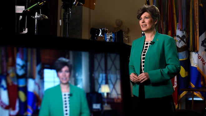 Sen. Joni Ernst, R-Iowa, rehearses her remarks for the Republican response to President Obama's State of the Union Address on Jan. 20, 2015.