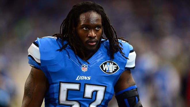 Detroit Lions linebacker Josh Bynes looks on against the Tampa Bay Buccaneers at Ford Field.