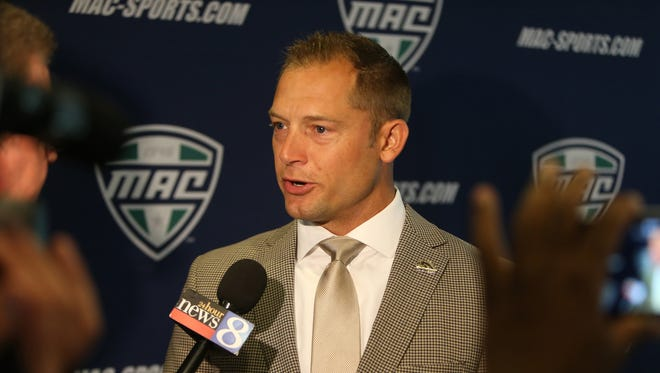 Western Michigan head football coach P.J. Fleck talks with reporters during the MAC media day July 29, 2015 at Ford Field in Detroit.