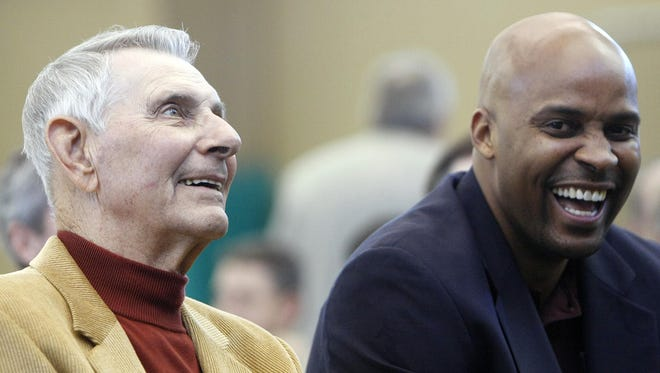 Bill Thomas, left, shown with former Missouri State coach Cuonzo Martin, will be inducted into the Missouri Valley Conference Hall of Fame next March.
