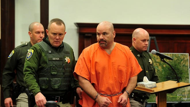 Adam Sanchez Jr. is led into the Cascade County Courthouse for sentencing in the 2014 death of Deputy Joe Dunn.