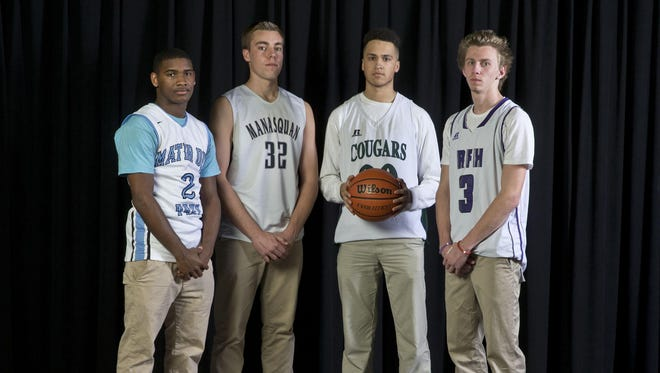 The 2016 Asbury Park Press All-Shore Boys Basketball Team of: NyQuan McCombs, Ryan Jensen, Lloyd Daniels and Brendan Barry. Not pictured is Pat Andree.