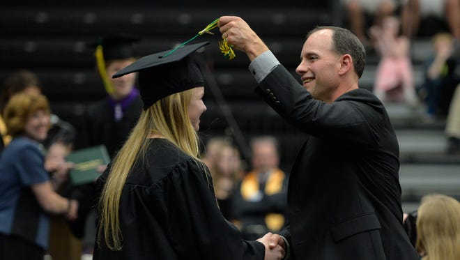 Sauk Rapids-Rice High School Principal Erich Martens, shown at commencement, will start about Feb. 1 as the new director of the Minnesota State High School League.