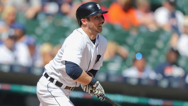 Detroit Tigers Andrew Romine bats during ninth inning action against the Toronto Blue Jays on Wednesday, June 8, 2016 at Comerica Park in Detroit, MI.