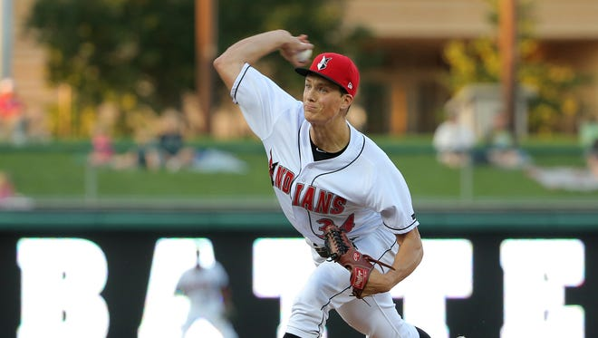 Indianapolis Indians pitcher Tyler Glasnow fires a pitch during their game against the Columbus Clippers Clippers on Thursday, September 17, 2015.