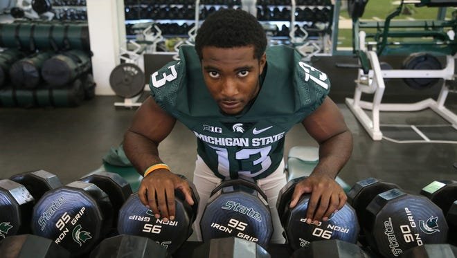 Michigan State defensive back Vayante Copeland poses for pictures Monday, Aug. 8, 2016, at Spartan Stadium in East Lansing.