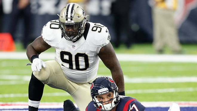 New Orleans Saints defensive tackle Nick Fairley (90) plays against the Houston Texans.