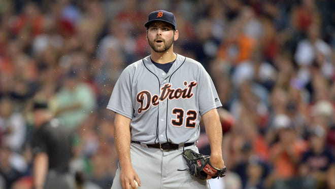 Tigers pitcher Michael Fulmer (32) reacts after being called for a balk during the third inning Friday in Cleveland.