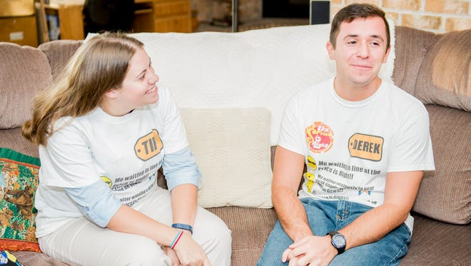 "Friends Tiffany Frazier, left, and Derek Goodhart sit together and recount their time spent at a  taping ""The Price is Right."""