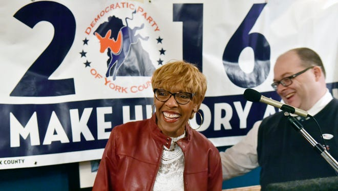 Carol Hill-Evans reacts after being announced as the winner of Pennsylvania's 95th district race Tuesday, Nov. 8, 2016, at the Democratic Party of York County's election watch party at the Roosevelt Tavern in York, Pa.