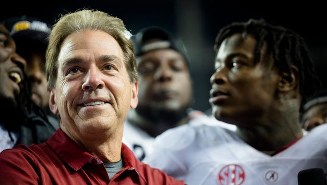 Alabama head coach Nick Saban looks to be all smiles again Monday night after the College Football Playoff title game.