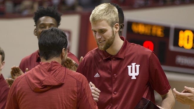 Indiana Hoosiers forward Tim Priller (35) receives his 2015-2016 championship ring during Hoosier Hysteria at Assembly Hall, Oct. 22, 2016.