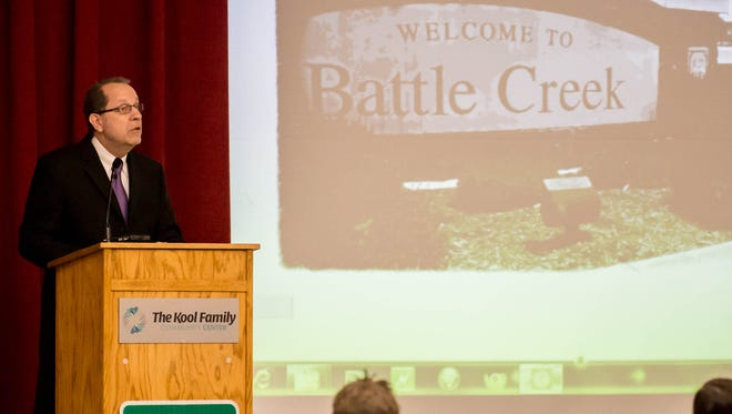 Battle Creek Mayor Dave Walters delivered his State of the City address Tuesday, encouraging residents to speak positively about the town.