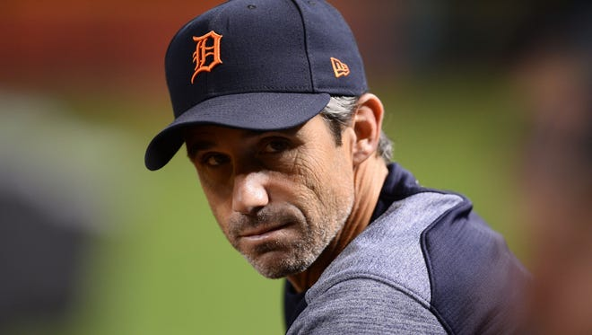 Tigers manager Brad Ausmus looks on during a game against the Diamondbacks at Chase Field.