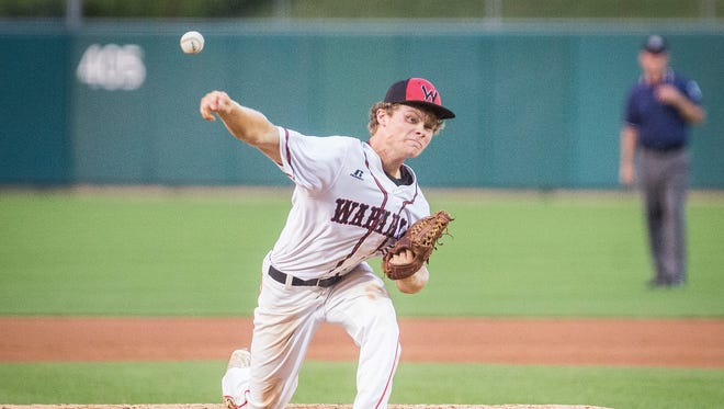 Wapahani's Chandler Wise pitches against Cardinal Ritter during their state championship game at Victory Field in Indianapolis Friday, June 16, 2017.