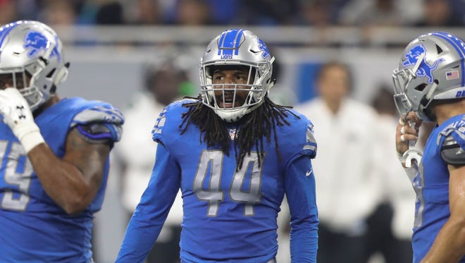 Jalen Reeves-Maybin lines up during the second quarter of the Lions' 16-6 exhibition win over the Jets on Aug. 19, 2017 at Ford Field.