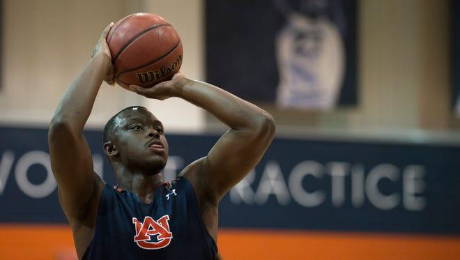 Auburn's Mustapha Heron (50) shoots during the first practice of the 2017-2018 NCAA Basketball Season on Friday, Sept. 29, 2017, in Auburn, Ala.