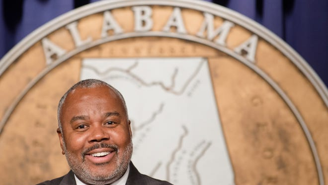 Alabama Senate minority leader Quinton Ross announces his resignation in order to become the President  of Alabama State University on Monday, Oct. 2, 2017, in Montgomery, Ala.