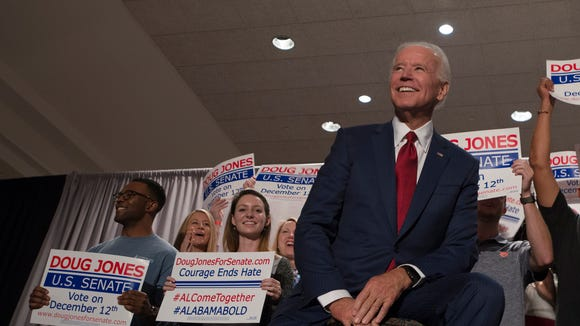 Joe Biden, former Vice President, looks on at a campaign rally for Democratic candidate for Senate Doug Jones on Tuesday, Oct. 3, 2017, in Birmingham, Ala.