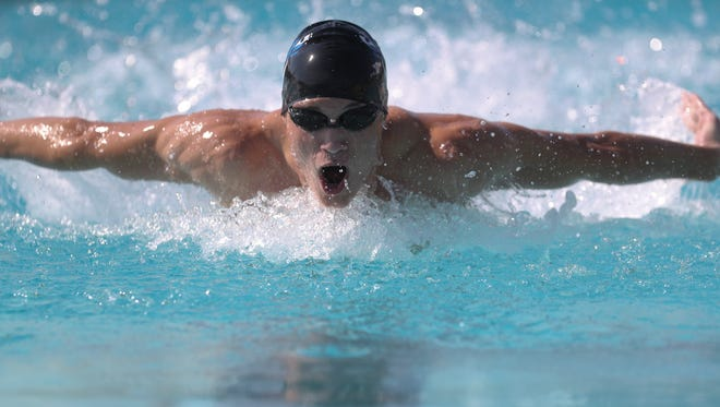 U-Prep's Howard Evans competes in the mens 200 yard IM Wednesday at West Valley High School.